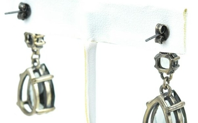 Pair of Large Scale Sterling & Topaz Paste Earring