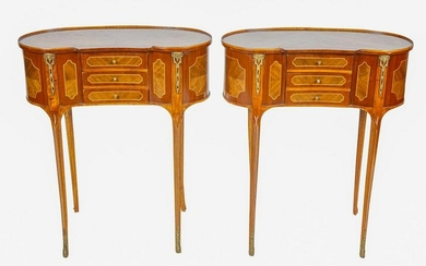 Pair of Louis XV Style Parquetry & Gilt Mounted Side