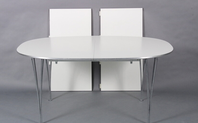 Piet Hein / Bruno Mathsson. Super-Elliptical dining table with two extension leaves (3)