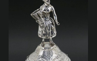 Rare and large toothpick holder in Silver - Peasant - .835 silver - Portugal - Second half 20th century