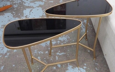 SIDE TABLES, a pair, 1960's Italian style, smoked glass tops...