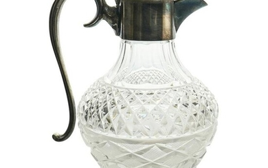 Silver Plated Mounted Glass Pitcher