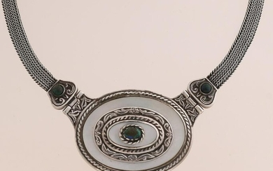 Silver choker with turquoise and mother-of-pearl
