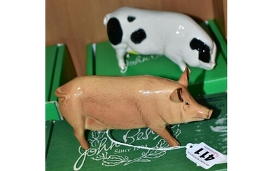 TWO BOXED BESWICK PIGS, Tamworth Pig G215 and Gloucester Old...