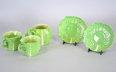 TWO DODIE THAYER LETTUCE WARE CERAMIC TEACUPS AND SAUCERS AND A MUG