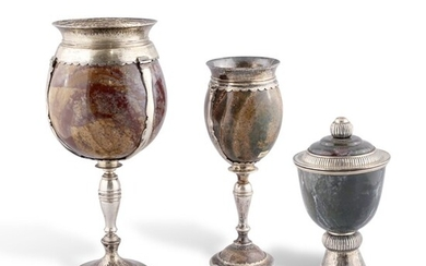 TWO JASPER CHALICES AND CUP WITH COVER, GABRIELE DE VECCHI
