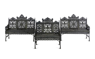 Three Painted Cast Iron Garden Benches