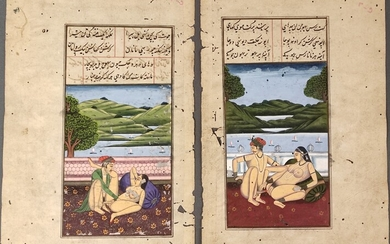 Three miniature paintings with erotic scenes, book pages, written on both sides, gouache on paper