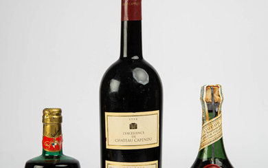 Three spirits, a herbal liqueur, a red wine and a rosé wine, Languedoc, France, Portugal, 1960-70s, 1998 (3).
