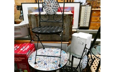 Tiled top wrought iron garden table & 2 chairs