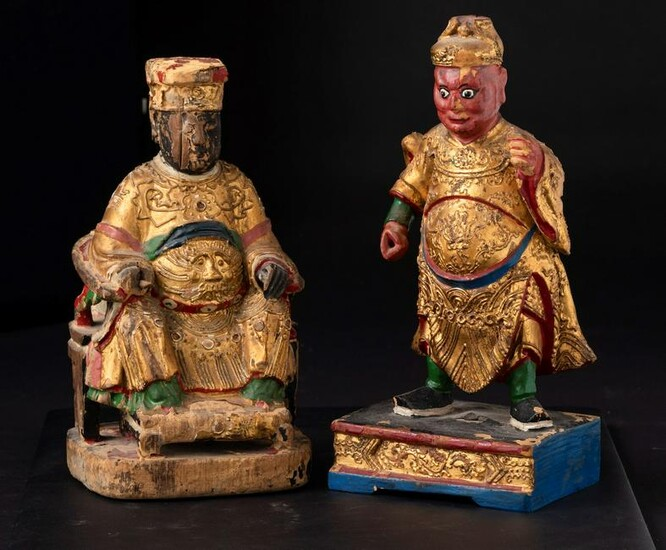 Two wooden sculptures, China, Qing Dynasty, Two wooden