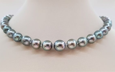 United Pearl - 8.5x11mm Silvery Green Tahitian Pearls - 14 kt. White gold - Necklace