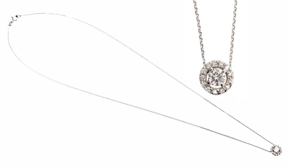 (-), White gold necklace, 14 kt., with an...