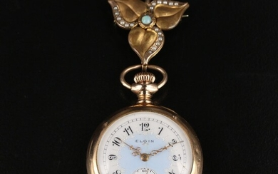 1905 Elgin Gold Filled Convertible Pocket Watch with Gemstone Pin