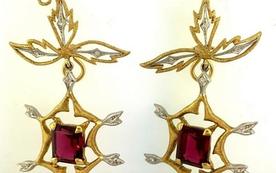 22K Yellow Gold and 900 PT Cathy Waterman Earrings with