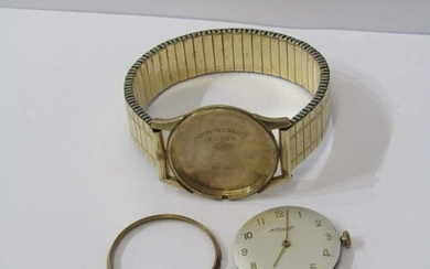 9ct YELLOW GOLD GENTLEMANS SWISS MADE WRIST WATCH, In a/f co...
