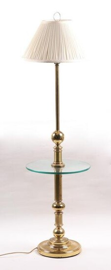 A Brass and Glass Floor Lamp