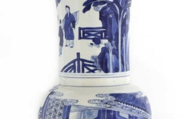 A Chinese blue and white 'phoenix tail' vase