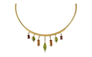 A DIAMOND AND MULTI GEM SET NECKLACE, comprising a yellow go...