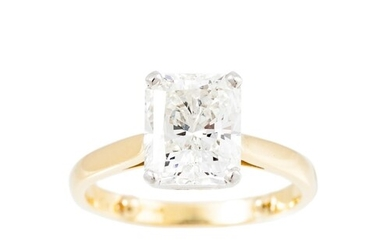 A DIAMOND SOLITAIRE RING, the radiant cut diamond mounted in...