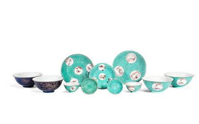 A GROUP OF 'TURQUOISE-MATRIX' GROUND VESSELS; AND TWO GILT-DECORATED BLUE GROUND BOWLS
