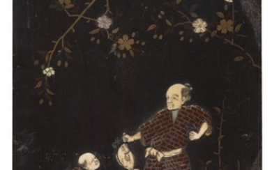 A JAPANESE PAINTED WOOD WITH BONE INLAID PANEL. HALF 20TH CENTURY.