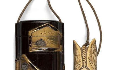 A Japanese black lacquer five-layer Inro, late Meiji period, decorated with make-e vignettes of nature, with stag-antler cicada netsuke and ojime, 9 x 5cm