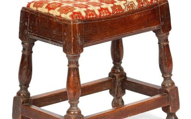 A QUEEN ANNE OAK JOINT STOOL C.1705 with a later...