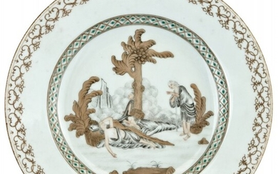 A Rare Chinese Grisaille Decorated European Style 'Christ and Disciples' Plate
