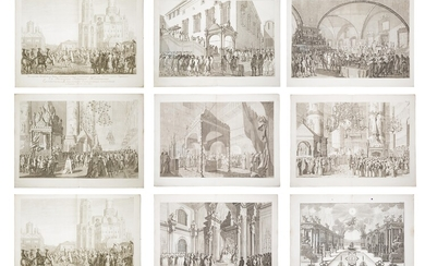A SET OF 9 RUSSIAN ENGRAVINGS FOR THE CORONATION OF CATHERINE THE GREAT, ST. PETERSBURG, 1850S