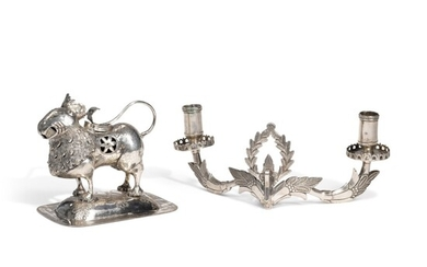 A South American Silver Lion-Form Incense Burner (Sahumador) and Two-Light Wall Sconce, 19th Century