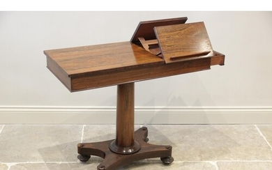 A William IV rosewood reading/music table, the rectangular t...