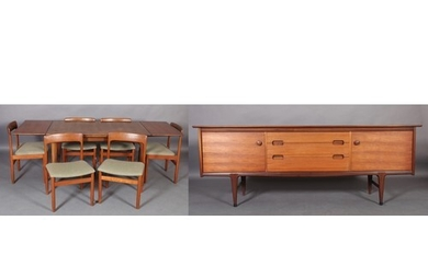A Younger teak extending dining suite, the extending table r...