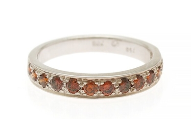 A diamond ring set with numerous brilliant-cut orange diamonds weighing a total of app. 0.50...