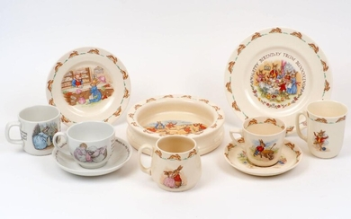 A group of Royal Doulton 'Bunnykins' table wares, to include a child's cereal bowl, teacup and saucer, and mug signed by Barbara Vernon, the bowl 19cm diameter, with a further mug, side plate and medium plate, together with a Wedgwood mug, teacup...