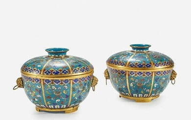A pair of Chinese cloisonne covered circular bowls