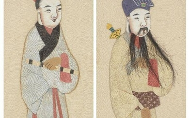 A pair of Chinese embroidered and painted pictures, 20th century, depicting a lady and a man in traditional dress, the man with a long flowing beard made of hair, in ebonised wood frames, 44.2cm x 18.9cm (2)