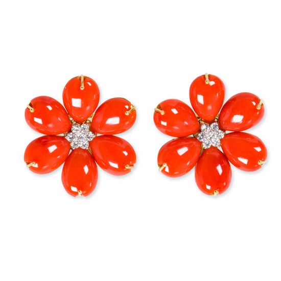 A pair of coral, diamond and eighteen karat gold earrings