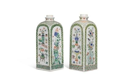 A pair of famille verte square flasks, Qing dynasty, Kangxi period   清康熙 彩繪花卉博古紋方瓶一對, A pair of famille verte square flasks, Qing dynasty, Kangxi period   清康熙 彩繪花卉博古紋方瓶一對