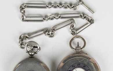 A silver keyless wind half-hunting cased gentleman's pocket watch, the jewelled gilt movement d
