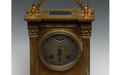 A substantial 19th century French gilt brass carriage clock,...