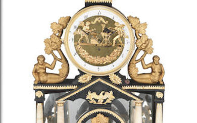 An early 19th century Austrian gilt metal mounted, ebonised, fruitwood and alabaster 'automaton' mantel clock with pull repeat