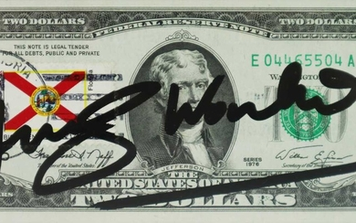 Andy Warhol (American 1928-1987) Signed $2 Bill, Florida Stamp