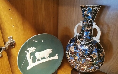 Antique Thomas Fradley 1880's Moon Flask Vase & Plate (A/F) ...