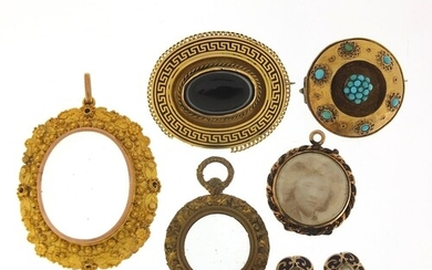 Antique and later jewellery including a unmarked gold locket...