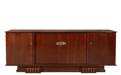 Attributed to Dominique (French), an Art Deco rosewood sideboard, Circa 1930, The long top with bevelled border having a pair of central cupboards below flanked on each side by a single cupboard, enclosing blond oak interiors, having three drawers...