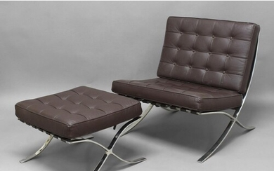 BARCELONA CHAIR & MATCHING STOOL after Mies Van Der Rohe, th...