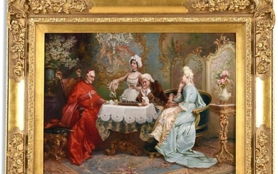 CARLO FERRANTI (1840-1908) CHESS WITH THE CARDINAL Signed an...