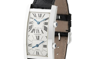Cartier. Original and Exceptional Tank Cintrée Dual-Time Wristwatch in White Gold With Papers and Tag
