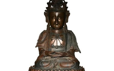 Chinese Bronze Guanyin with Wood Stand, Ming Dynasty